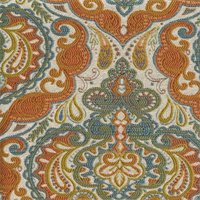 Prussa Aqua Woven Floral Design Upholstery Fabric