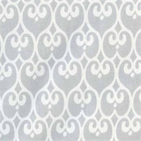 Scroll Grey Cotton Drapery Fabric