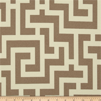 Road Block Taupe & Cream Contemporary Indoor/Outdoor Fabric