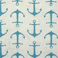 Anchors Coastal Blue Slub Cotton Drapery Fabric By Premier Prints