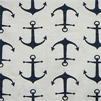 Anchors Premier Navy Slub Cotton Drapery Fabric By Premier Prints