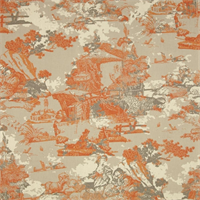 Birmingham Cinnamon Macon Orange Cotton Drapery Fabric by Premier Prints