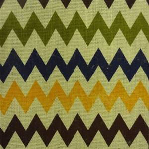 BLV 095 Chevron Stripe Multi/Natural  Burlap Drapery Fabric