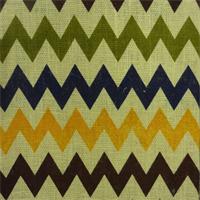BLV 095 Chevron Stripe Multi/Natural  Burlap Drapery Fabric