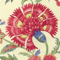 Grand Palampore Jewel Floral Linen Drapery Fabric by Williamsburg