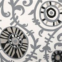 Suzani Vines Onyx/Natural Drapery Fabric by Premier Prints