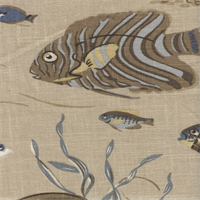 Delmar Sealife Blue/Brown Drapery Fabric