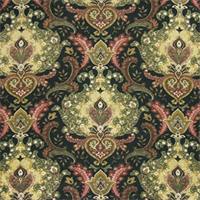 Lahore Dancer Onyx Cotton Floral Drapery Fabric by Swavelle Mill Creek