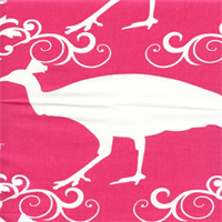 Peacock Candy Pink/White Drapery Fabric by Premier Prints