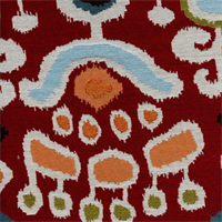 Adobe Ikat Bazaar Red Woven Upholstery Fabric