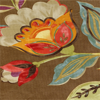 Modern Poetic Flaxseed Floral Drapery Fabric by Waverly