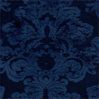 M9525 Prussian Blue Embossed Chenille Floral Upholstey Fabric by Barrow Merrimac