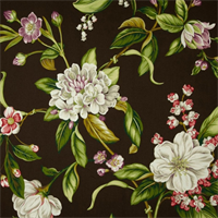 Collinson Graphite Floral Cotton Drapery Fabric