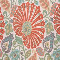 Bankura Papaya Floral Drapery Fabric