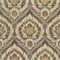 Medallion Print Grey Cotton Drapery Fabric by Famous Maker