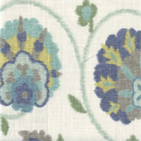 Pamir Aquamarine Floral Ikat Print Drapery Fabric by Braemore
