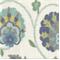 Pamir Aquamarine Floral Ikat Print Drapery Fabric by Braemore