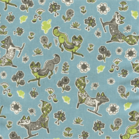Foxy Mantis Macon Green, Grey, Blue Drapery Fabric by Premier Prints