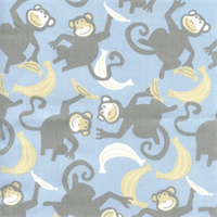 Chimps Mist Storm Twill Drapery Fabric by Premier Prints