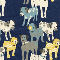Woof Woof Premier Navy Drapery Fabric by Premier Prints