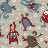 Little Monsters Pewter Natural Drapery Fabric by Premier Prints