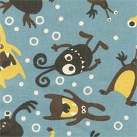 Little Monsters Cambridge Natural Drapery Fabric by Premier Prints
