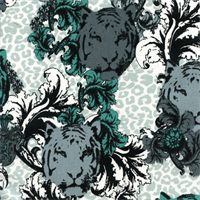 Tiger Poems Jade Green Drapery Fabric by Premier Prints