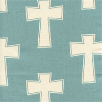 Cross Village Blue Natural Drapery Fabric by Premier Prints