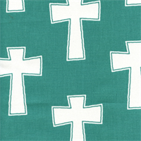 Cross Jade Green Drapery Fabric by Premier Prints