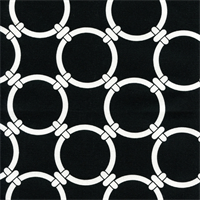 Linked Black Cotton Geometric Print by Premier Prints