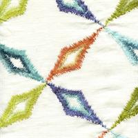 Pinwheel Rainbow Ikat Linen Drapery Fabric
