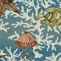 Neptune Turquoise Woven Aquatic Upholstery Fabric