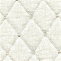 Rhombus Ivory Diamond and Dot Embroidered/Quilted Linen Upholstery Fabric