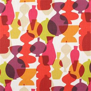 Contemporary Purple and Red Linen Drapery Fabric by Famous Maker