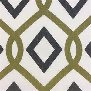 Cottage Gate #2 Charcoal Linen Geometric Drapery Fabric