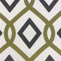Cottage Gate #2 Charcoal/Green Linen Geometric Drapery Fabric