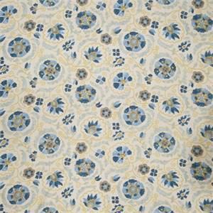 Floral Medallion 70384-RF Denim Drapery Fabric by Richtex Home