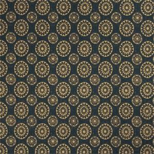 Geometric Medallion 72991-RF Indigo Cotton Drapery Fabric by Richtex Home