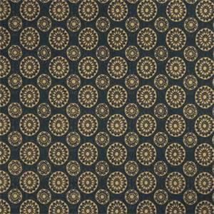 Geometric Medallion 72991-RF Indigo Cotton Drapery Fabric by Richtex Home