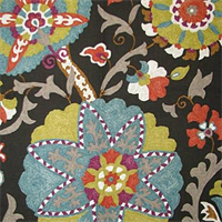 Ladbroke Licorice Floral Linen Look Drapery Fabric