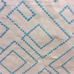 Meadow Seamist Embroidered Dash Stitch Geometric Drapery Fabric