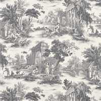 Grand Toile Platinum/Natural Cotton Drapery Fabric