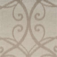 Azure Scroll Linen Ikat Drapery Fabric