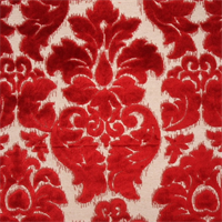 Venice Red Floral Cut Chenille Upholstery Fabric