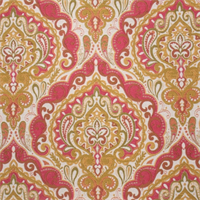 Prussia Coral Woven Floral Upholstery Fabric