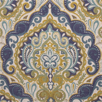 Prussia Indigo Woven Floral Upholstery Fabric