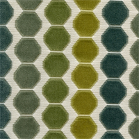Beekeeper Everglades Green Cut Chenille Honeycomb Design Upholstery Fabric