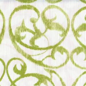 Frontgate Kiwi Green Weathered Scroll Floral Cotton Drapery Fabric