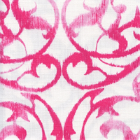 Frontgate Fuschia Pink Weathered Scroll Floral Cotton Drapery Fabric