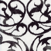 Frontgate Charcoal Weathered Scroll Floral Cotton Drapery Fabric